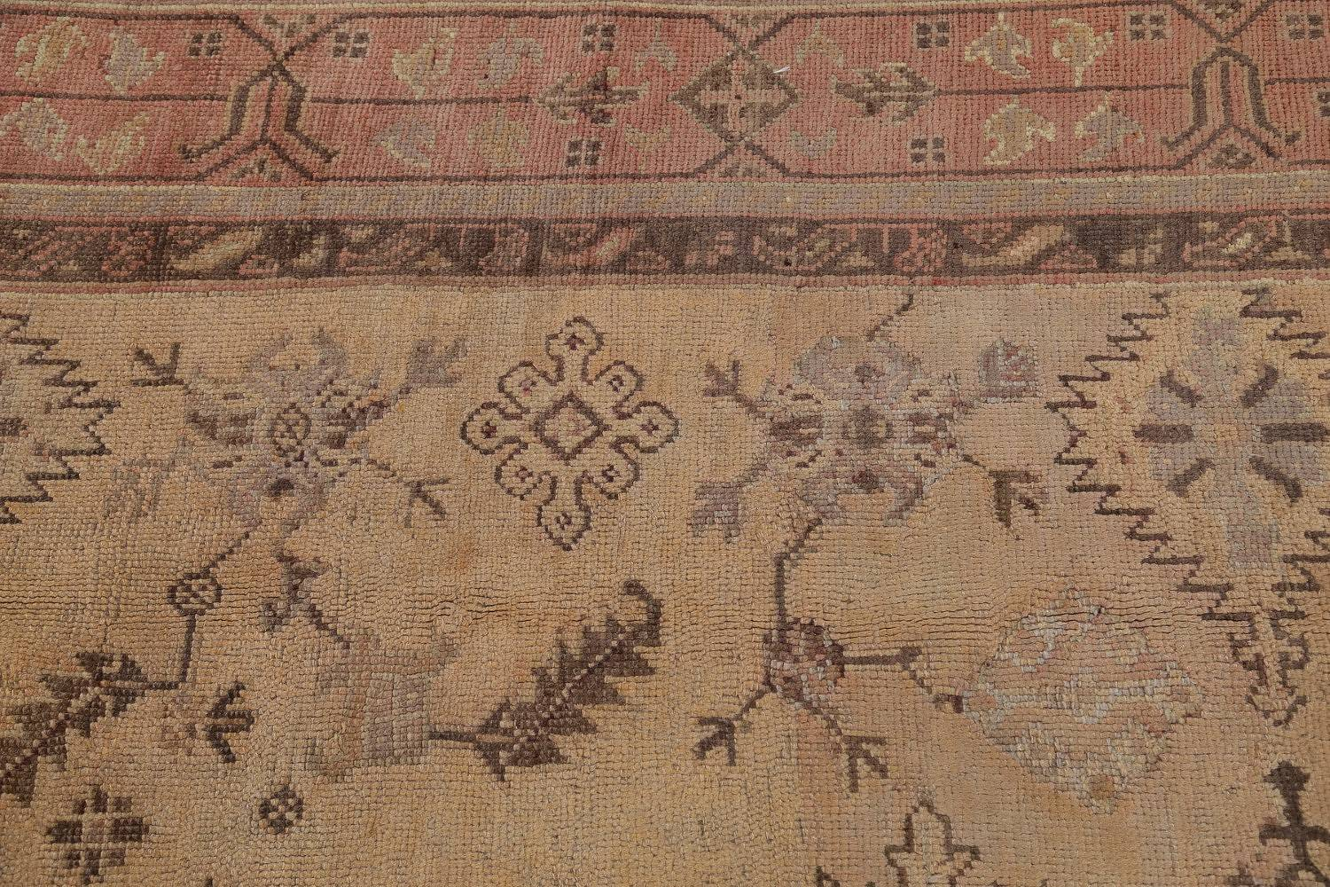 Pre-1900 Antique All-Over Geometric Muted Color Oushak Turkish Area Rug 10x13 image 15