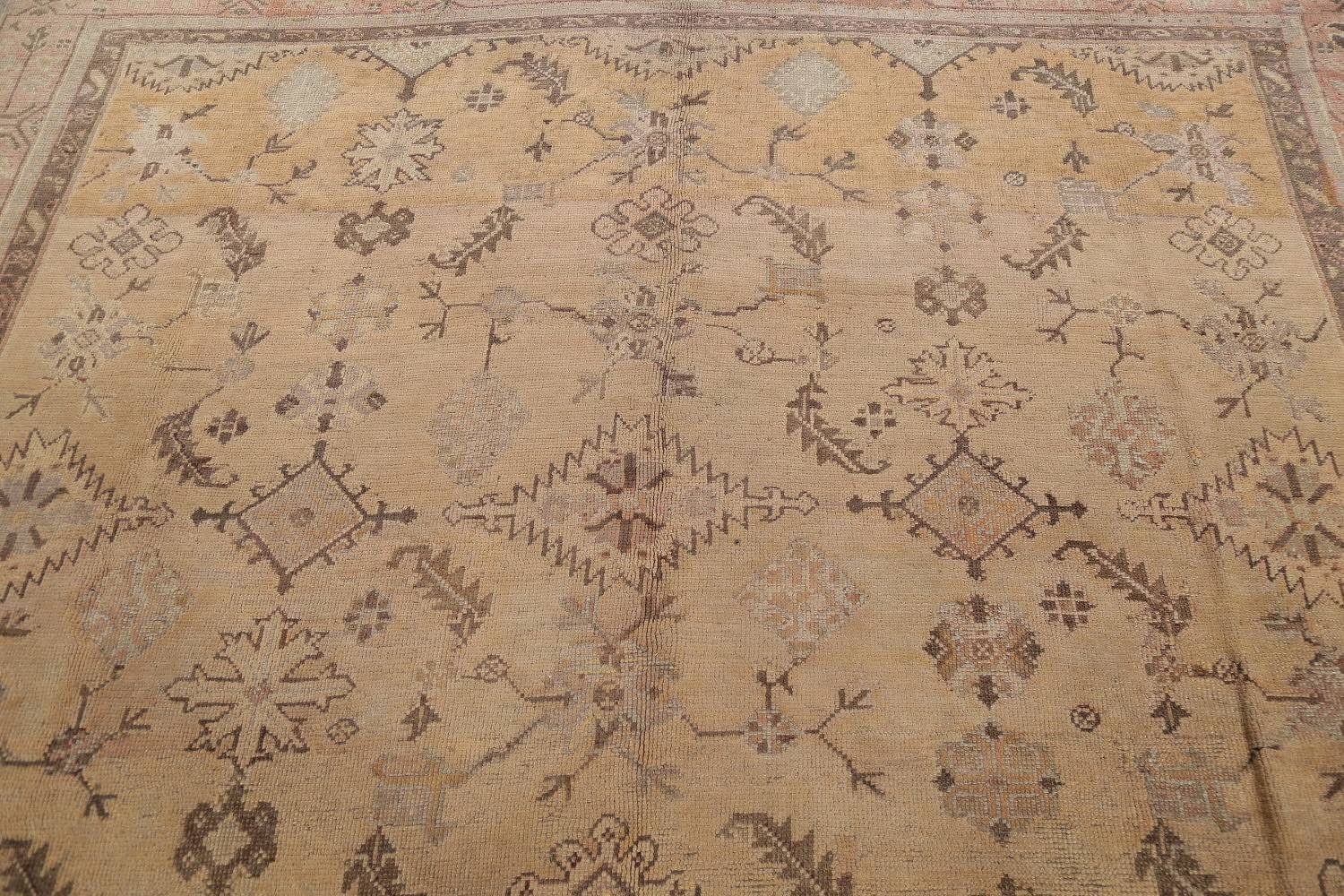 Pre-1900 Antique All-Over Geometric Muted Color Oushak Turkish Area Rug 10x13 image 16
