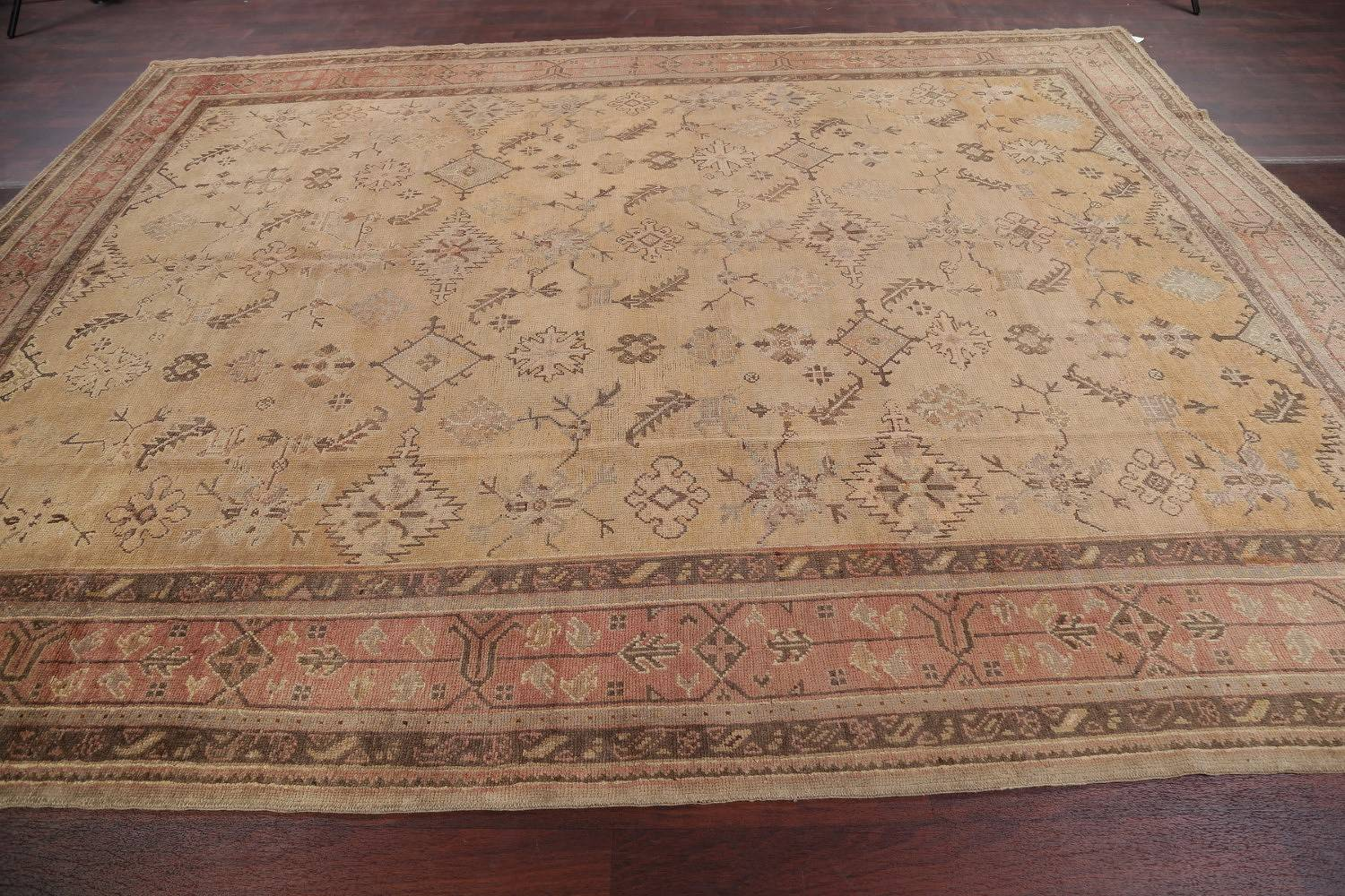 Pre-1900 Antique All-Over Geometric Muted Color Oushak Turkish Area Rug 10x13 image 18
