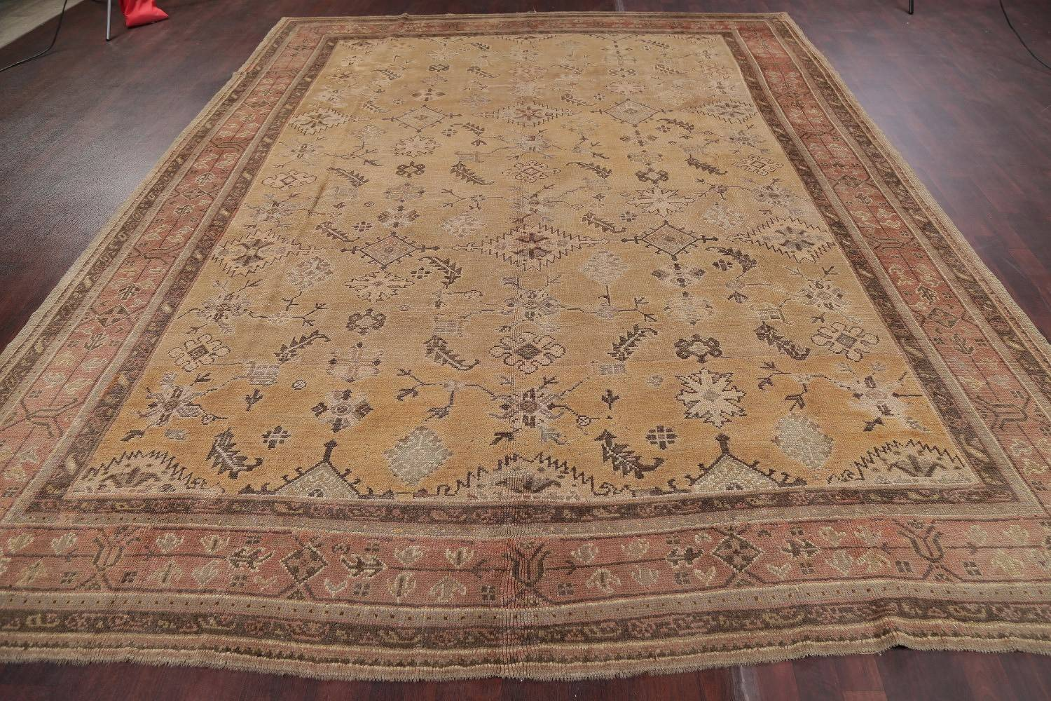 Pre-1900 Antique All-Over Geometric Muted Color Oushak Turkish Area Rug 10x13 image 19