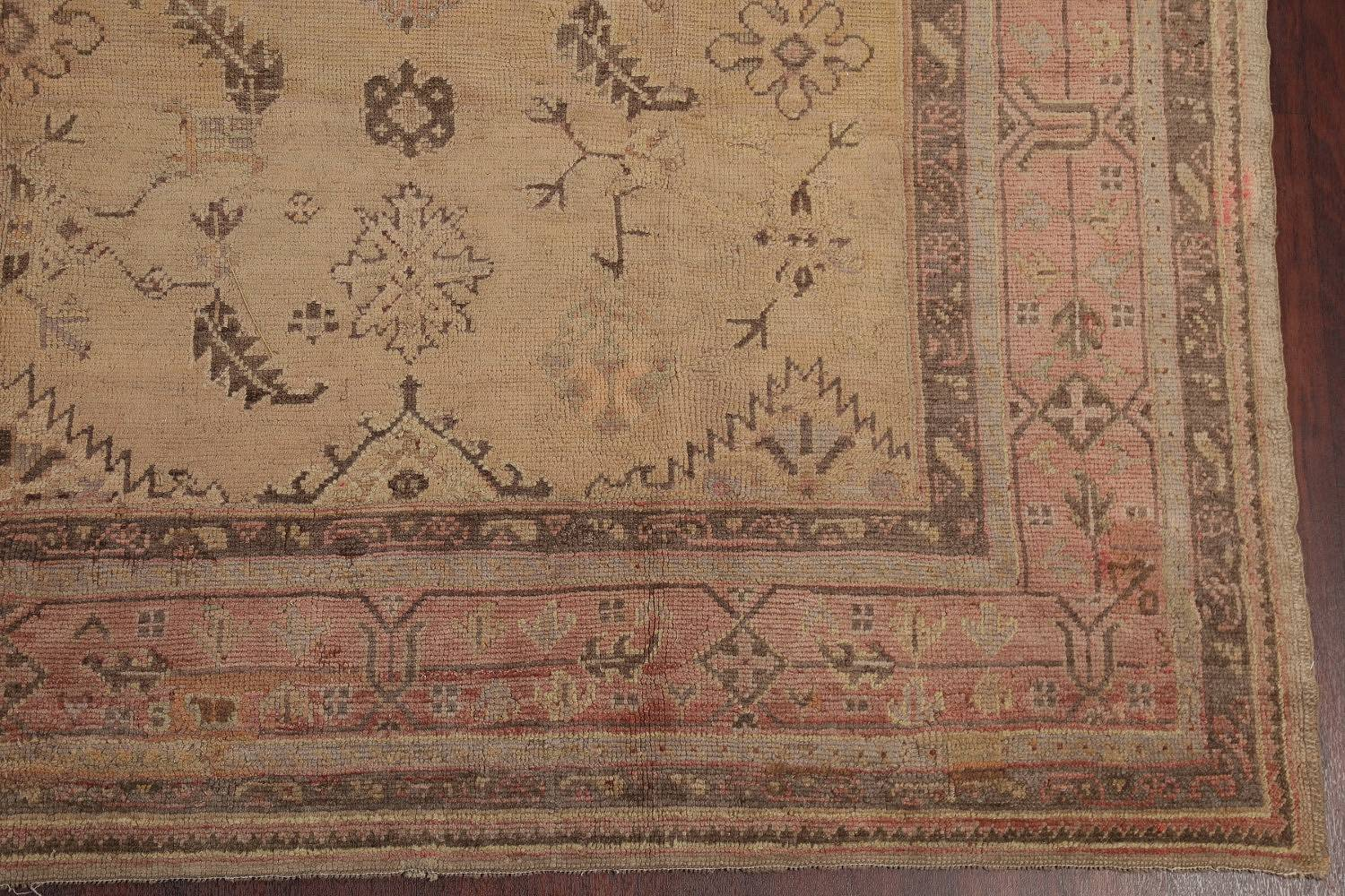 Pre-1900 Antique All-Over Geometric Muted Color Oushak Turkish Area Rug 10x13