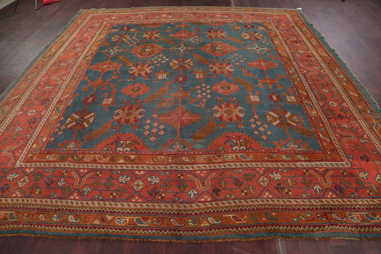 Antique Teal Blue Oushak Turkish Oriental Square Rug 11'x11'