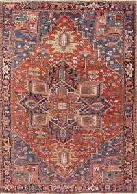 Pre-1900 Vegetable Dye Antique Geometric Heriz Serapi Persian Area Rug 9x12