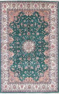 Floral Kashan Oriental Hand-Knotted Area Rug Wool 6x10