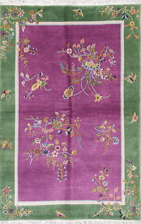 Floral Purple Art Deco Chinese Oriental Area Rug Wool 6x9