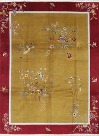 Floral Gold Art Deco Chinese Oriental Area Rug Wool 9x12