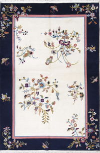 Floral Ivory Art Deco Chinese Oriental Area Rug Wool 6x9