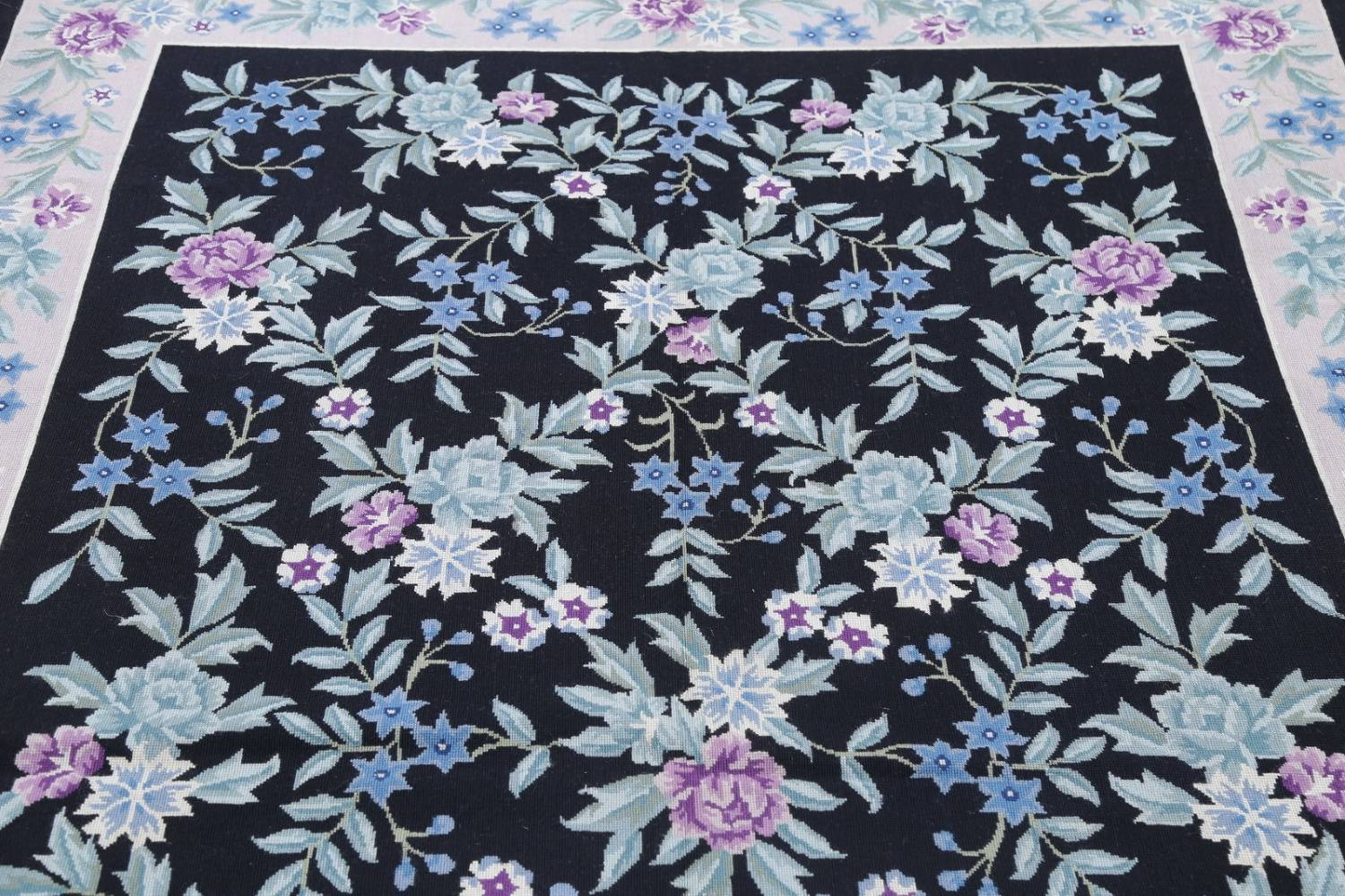 Floral Navy Blue Aubusson Chinese Oriental Area Rug Wool 6x9