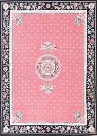 Floral Pink Aubusson Chinese Oriental Area Rug Wool 9x12