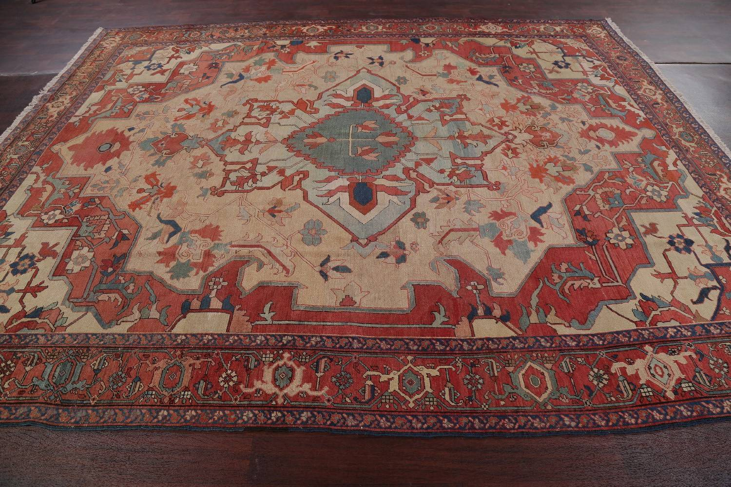 Antique Vegetable Dye Geometric Beige Heriz Bakhshayesh Persian Area Rug Wool 9x12