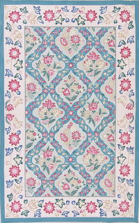 Floral Light Blue Aubusson Chinese Oriental Area Rug Wool 6x9