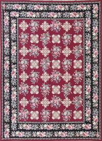 Floral Red Aubusson Chinese Oriental Area Rug Wool 8x11