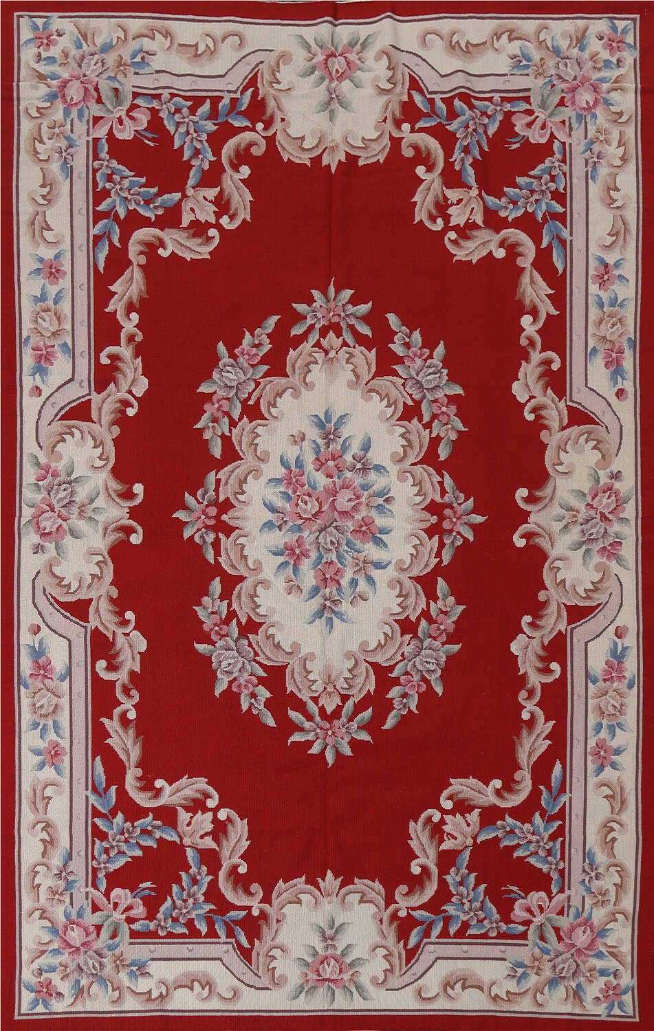 Floral Red Aubusson Chinese Wool Area Rug 5x9 image 1