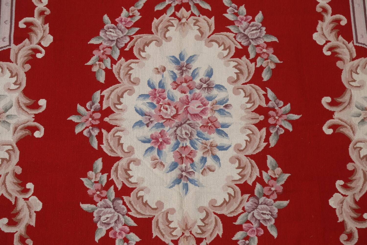 Floral Red Aubusson Chinese Wool Area Rug 5x9 image 5