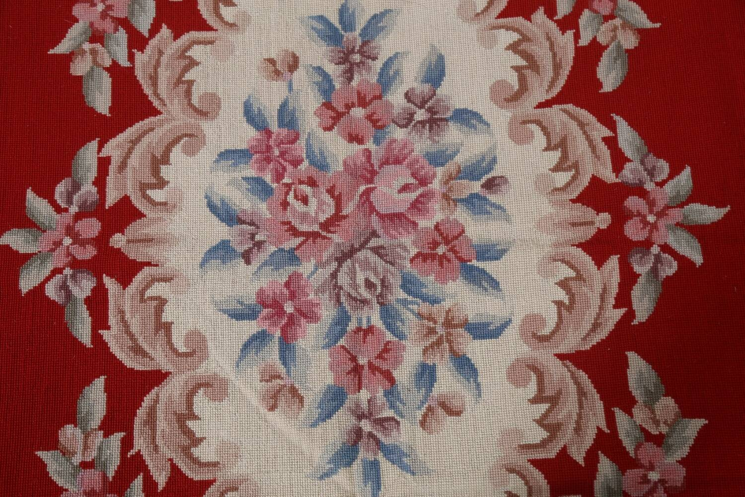 Floral Red Aubusson Chinese Wool Area Rug 5x9 image 9