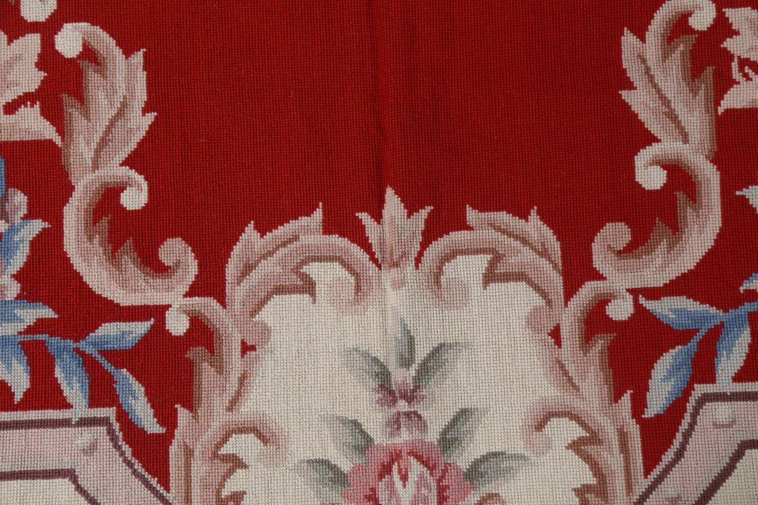 Floral Red Aubusson Chinese Wool Area Rug 5x9 image 10
