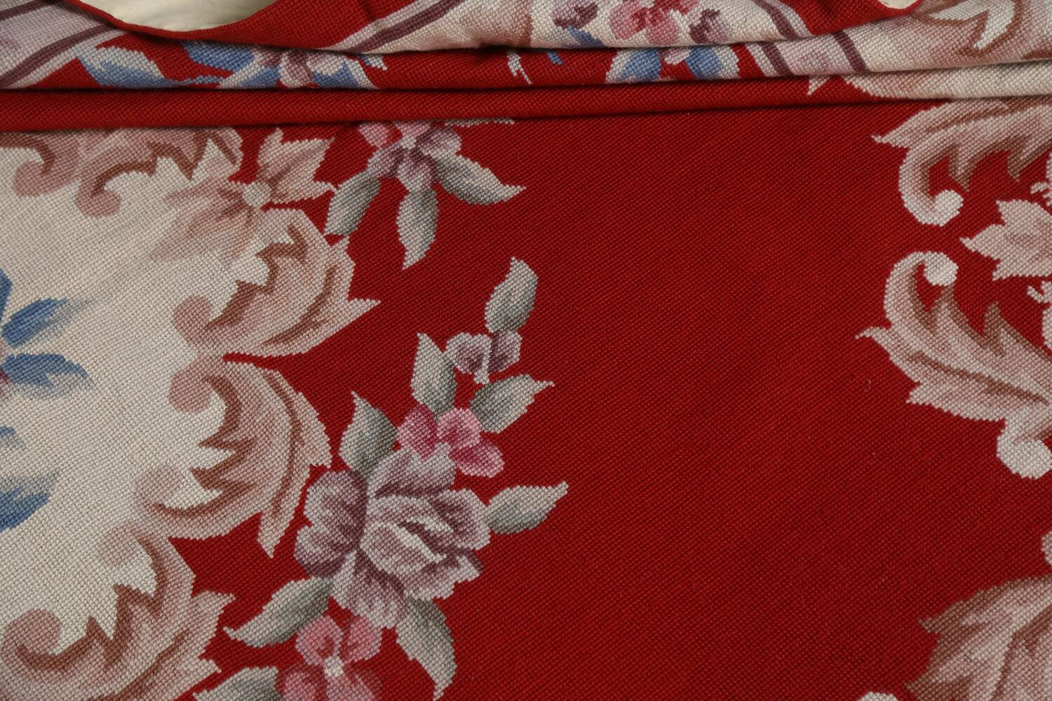 Floral Red Aubusson Chinese Wool Area Rug 5x9 image 17