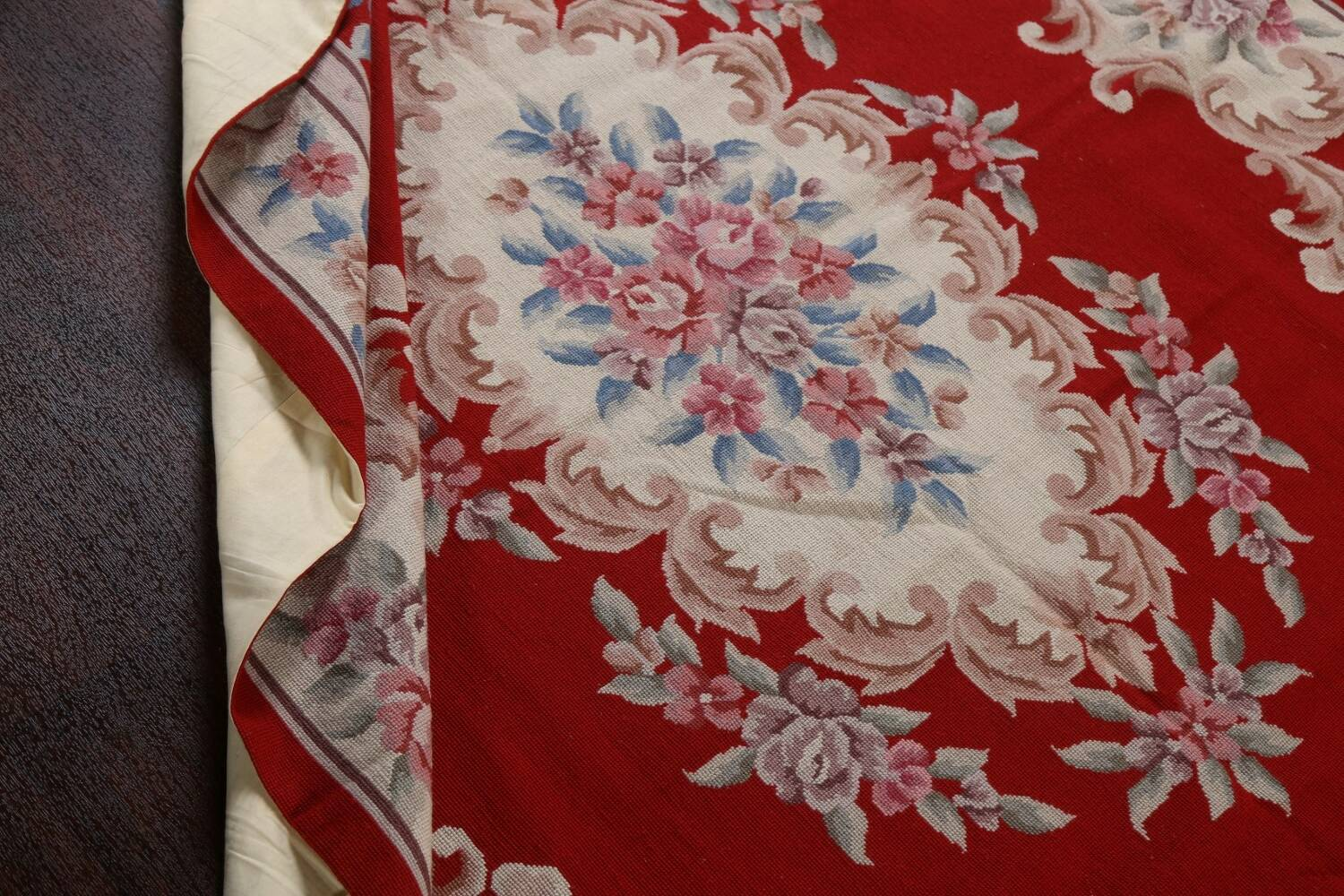 Floral Red Aubusson Chinese Wool Area Rug 5x9 image 18