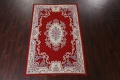 Floral Red Aubusson Chinese Wool Area Rug 5x9 image 3