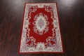 Floral Red Aubusson Chinese Wool Area Rug 5x9 image 15