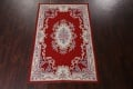Floral Red Aubusson Chinese Wool Area Rug 5x9 image 16