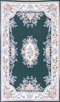 Green Aubusson Tapestries Area Rug 5x8