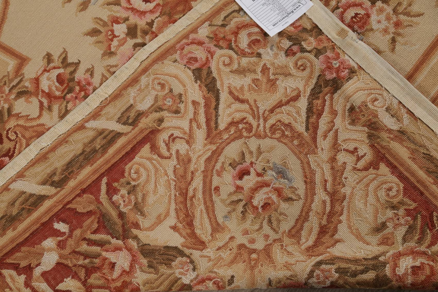 Floral Beige Aubusson Chinese Oriental Hand-Woven Area Rug Wool 6x9
