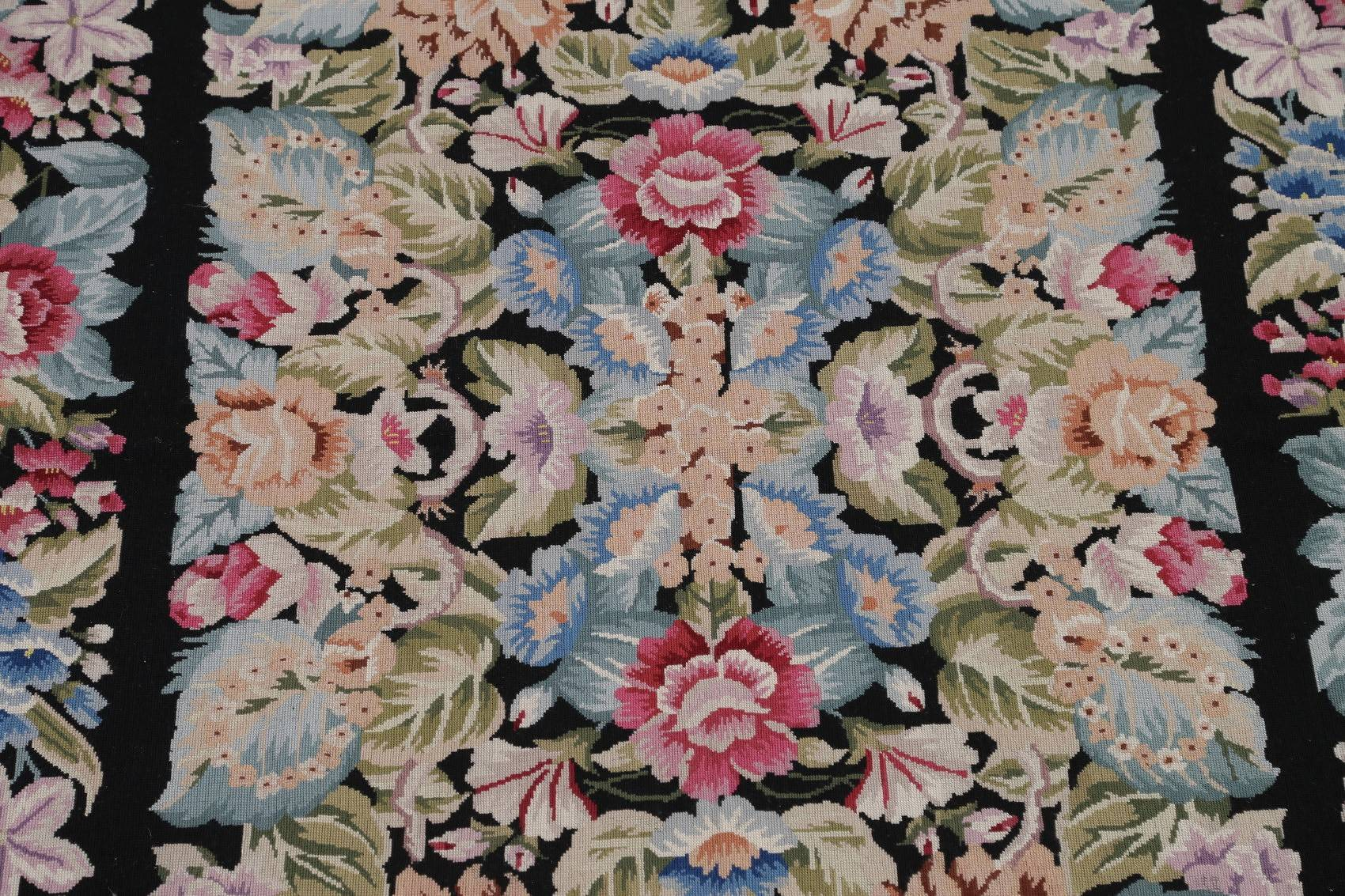 Floral Black Aubusson Chinese Oriental Hand-Woven Area Rug Wool 6x9