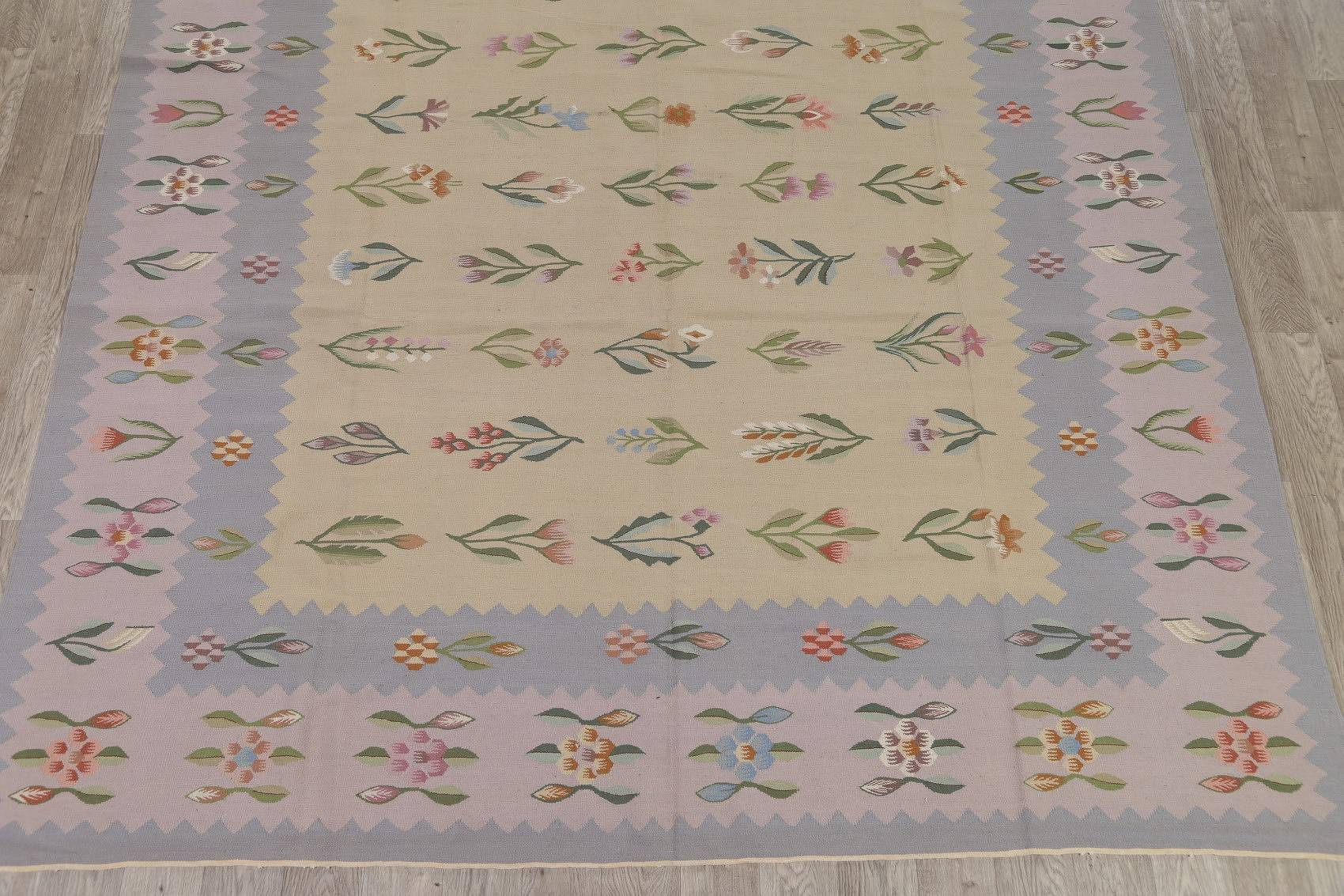 Floral Kilim Indian Oriental Hand-Woven Area Rug Wool 9x12