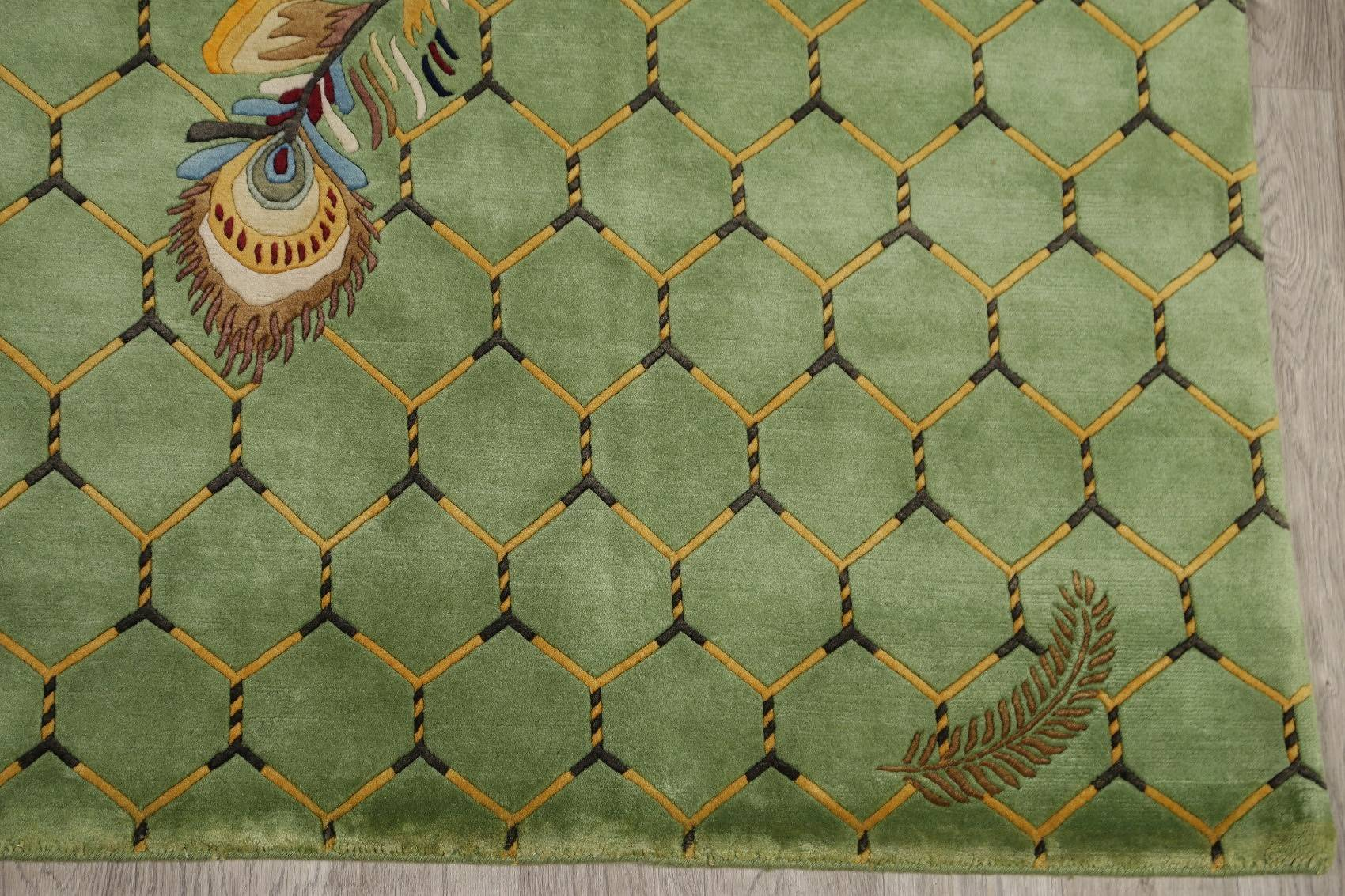 Floral Green Nepal Indo Oriental Hand-Knotted Area Rug Wool 8x10