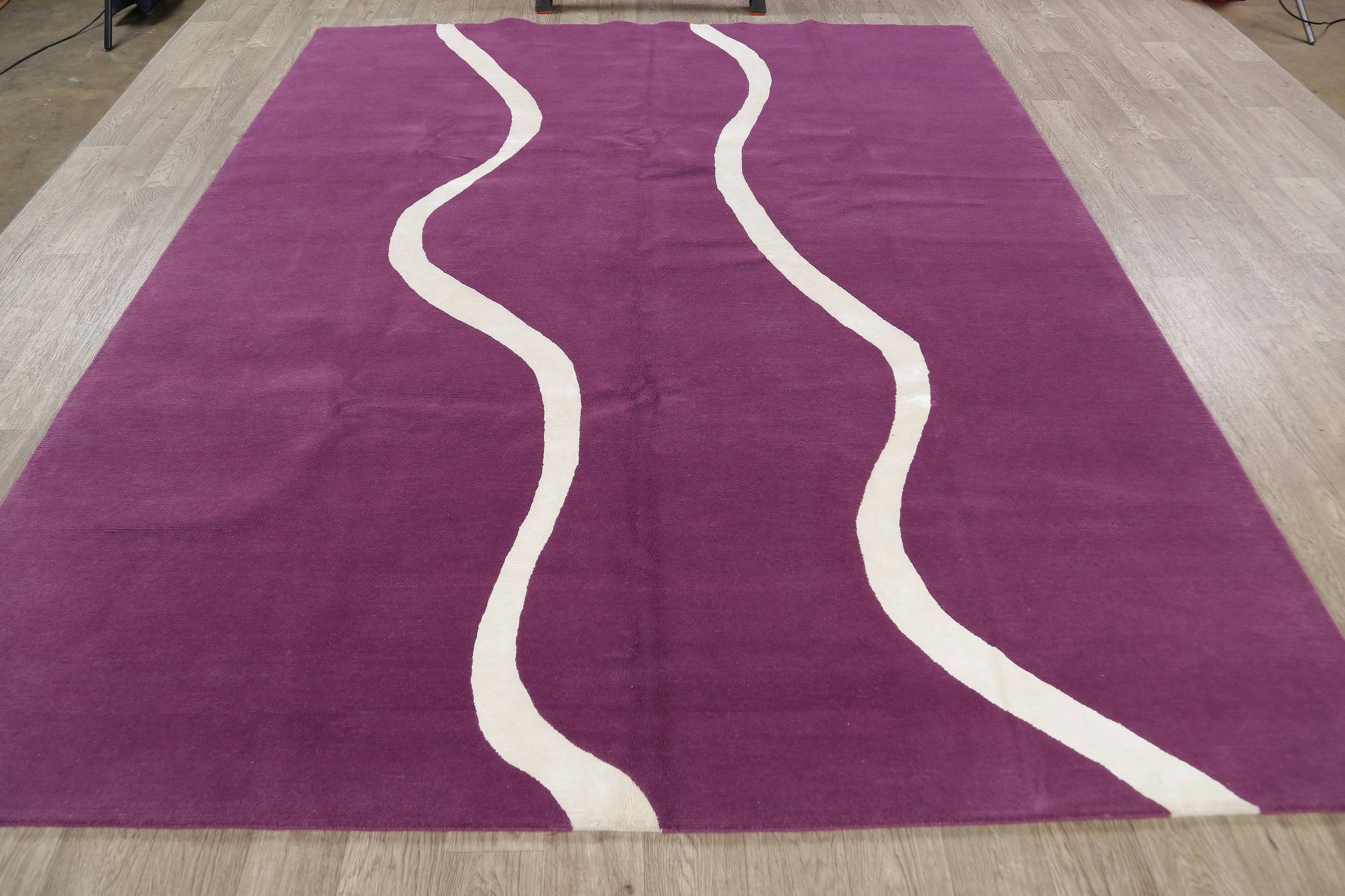 Wool/Silk Modern Purple Nepal Hand-Knotted Area Rug 8x10
