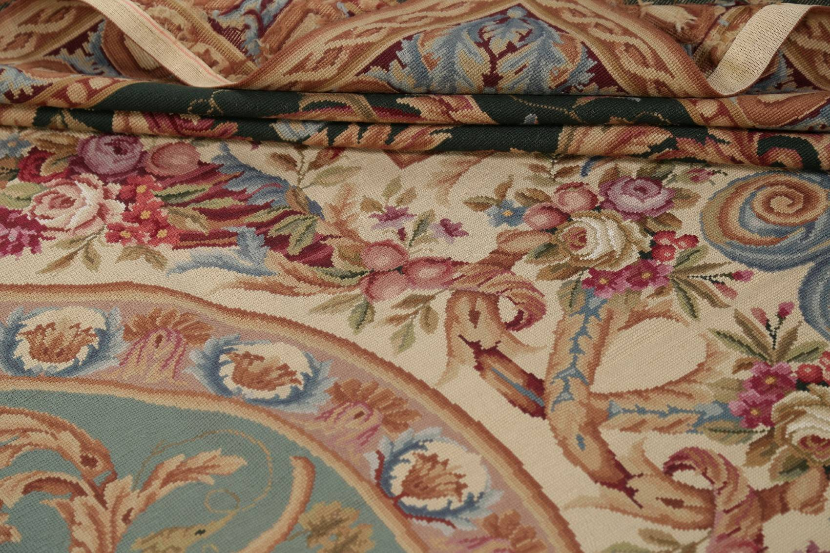 Floral Aubusson Chinese Oriental Hand-Woven Area Rug Wool 8x12