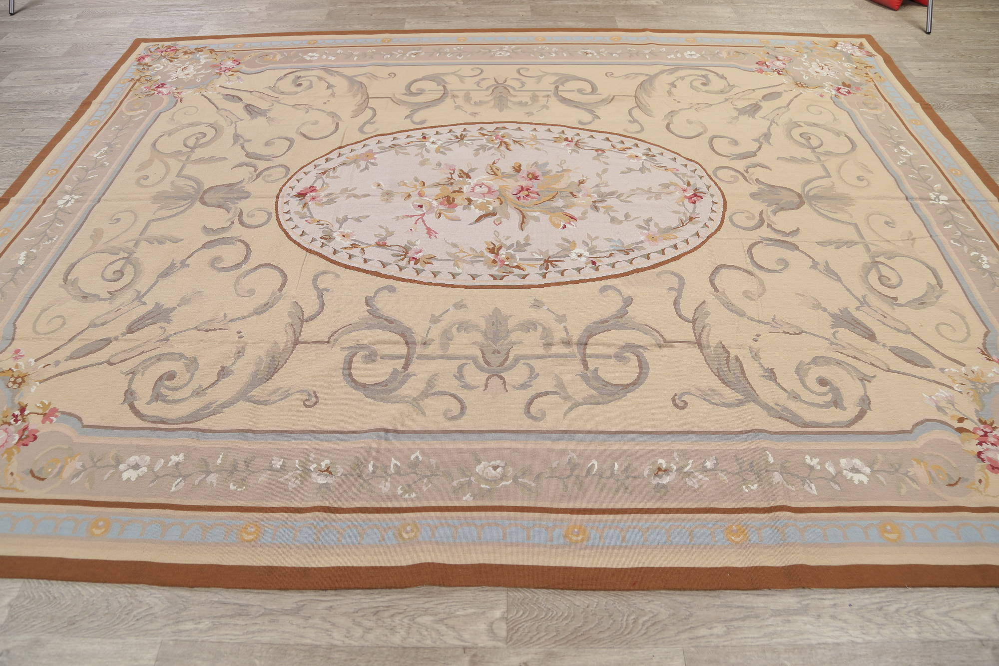 Floral Aubusson Chinese Oriental Hand-Woven Area Rug Wool 9x11