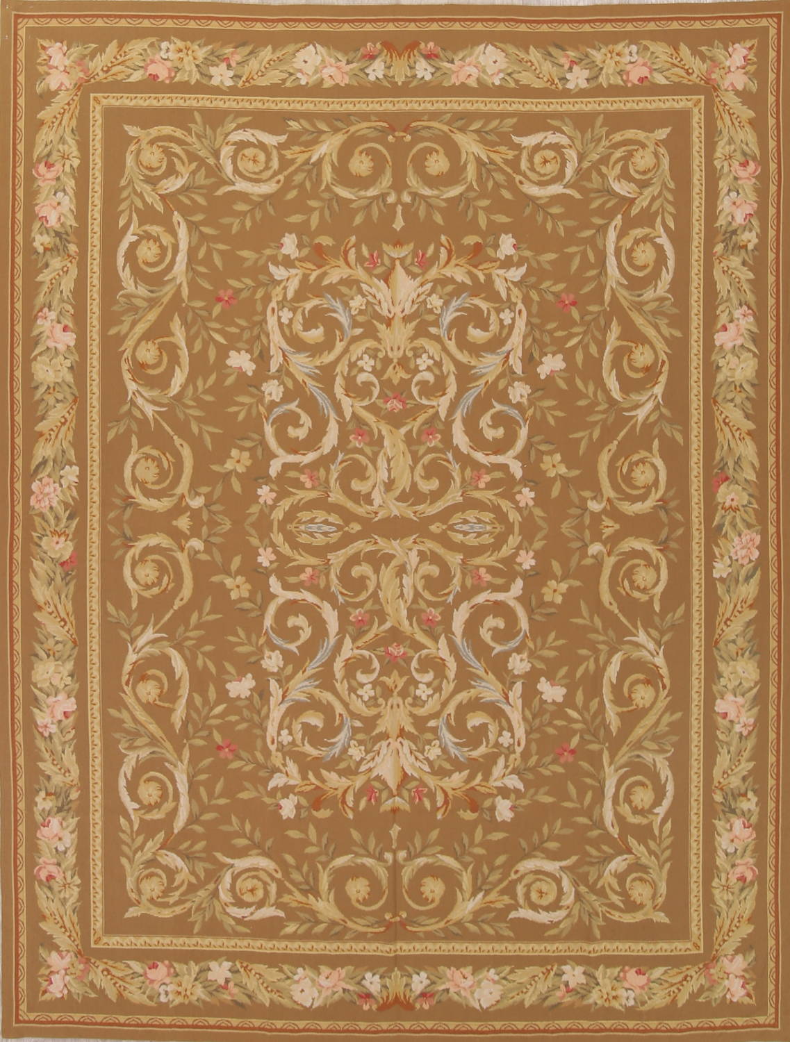 Floral Brown Aubusson Chinese Oriental Hand-Woven Area Rug Wool 8x10 image 1