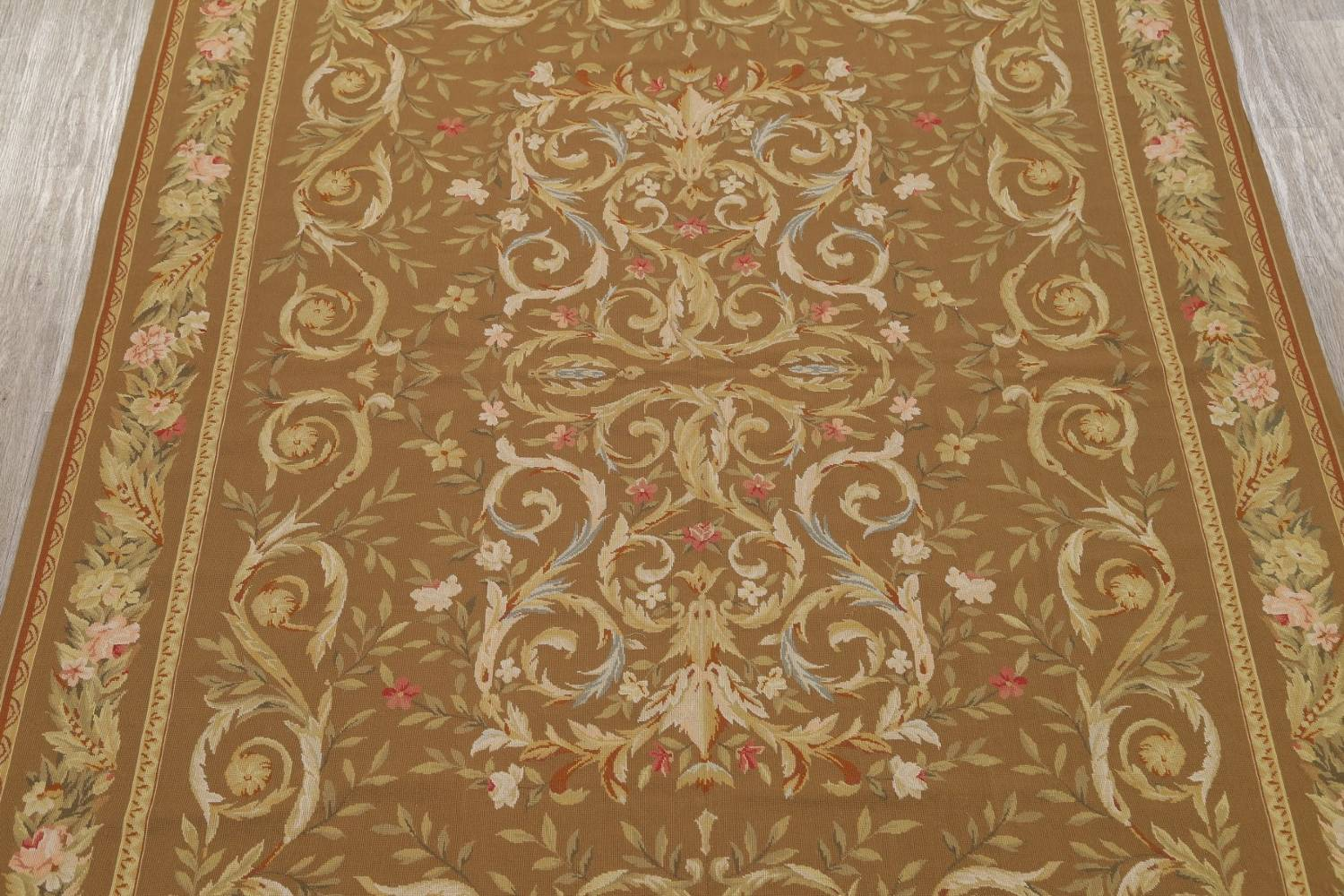 Floral Brown Aubusson Chinese Oriental Hand-Woven Area Rug Wool 8x10 image 3