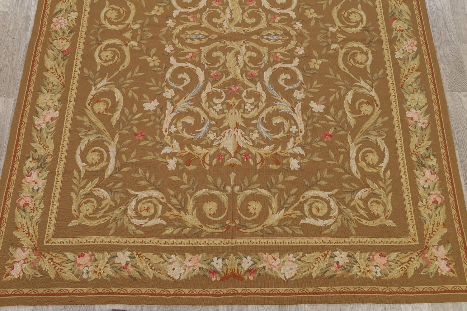 Floral Brown Aubusson Chinese Oriental Hand-Woven Area Rug Wool 8x10 image 5