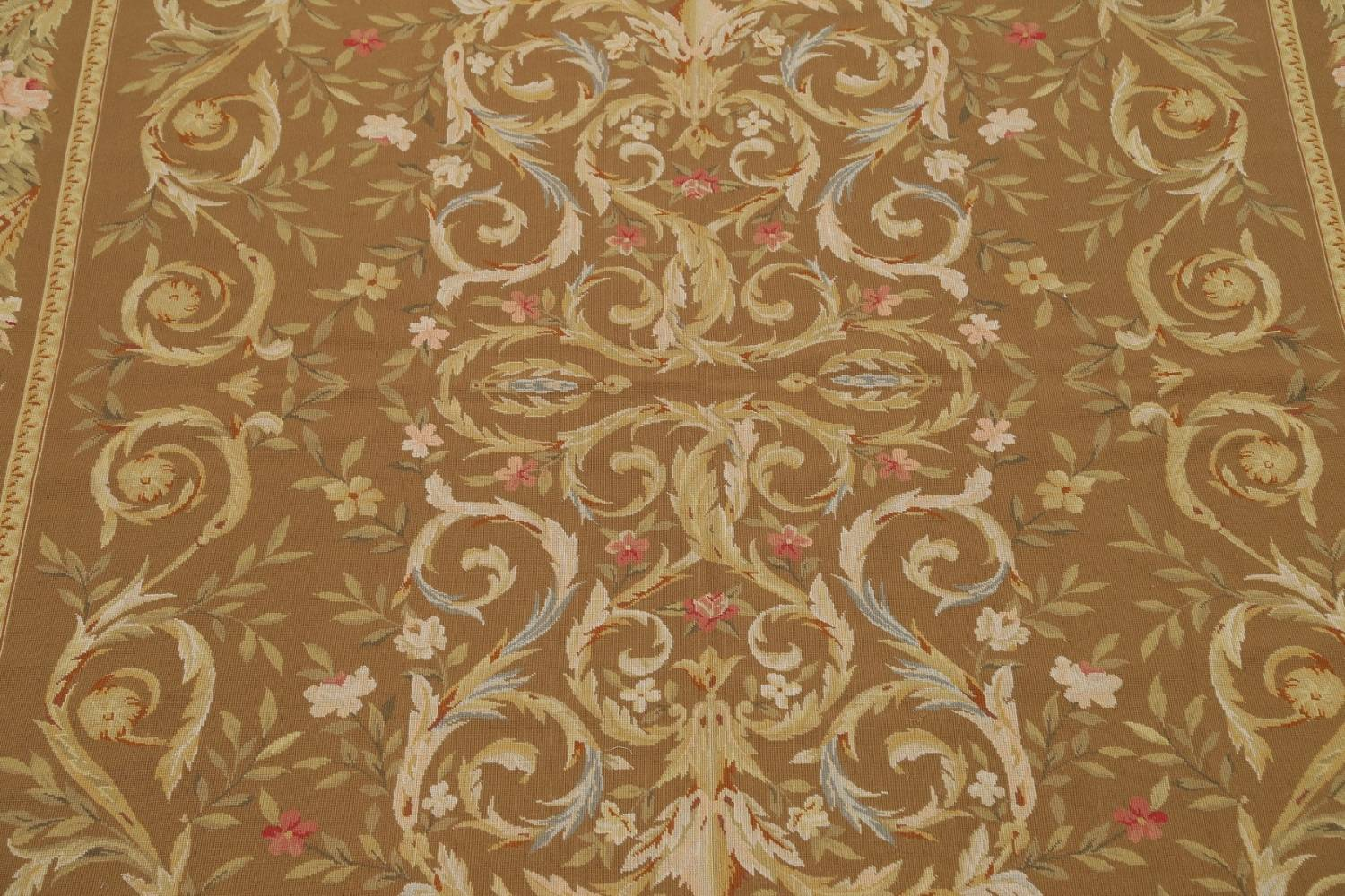 Floral Brown Aubusson Chinese Oriental Hand-Woven Area Rug Wool 8x10 image 4