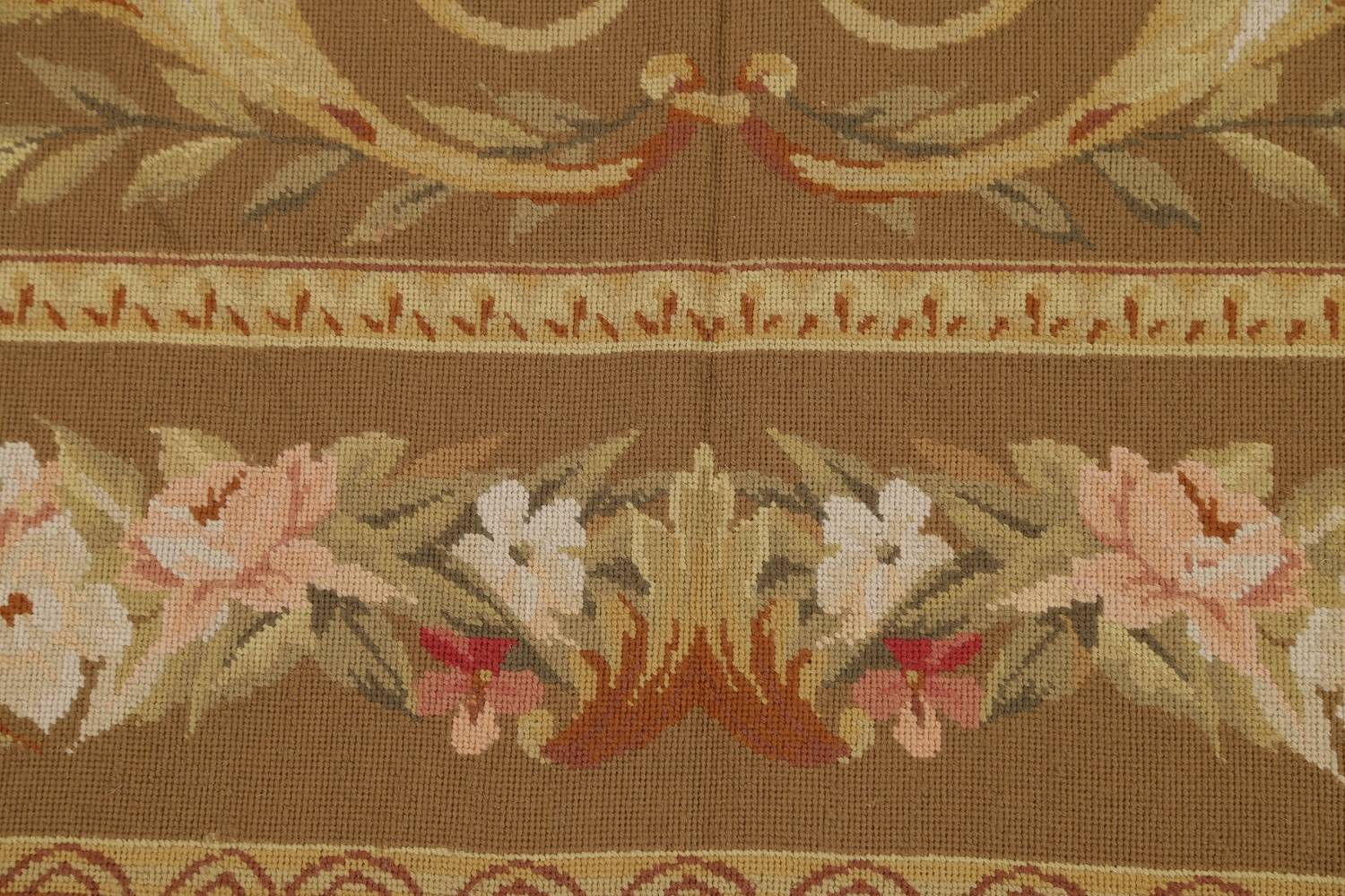Floral Brown Aubusson Chinese Oriental Hand-Woven Area Rug Wool 8x10 image 7