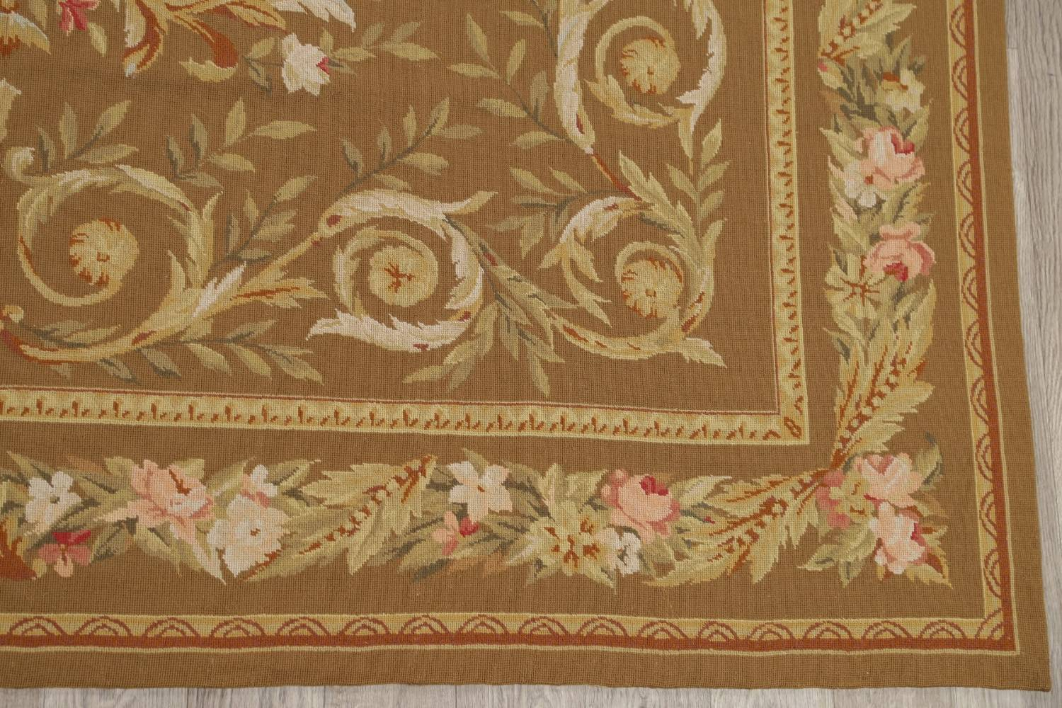 Floral Brown Aubusson Chinese Oriental Hand-Woven Area Rug Wool 8x10 image 6