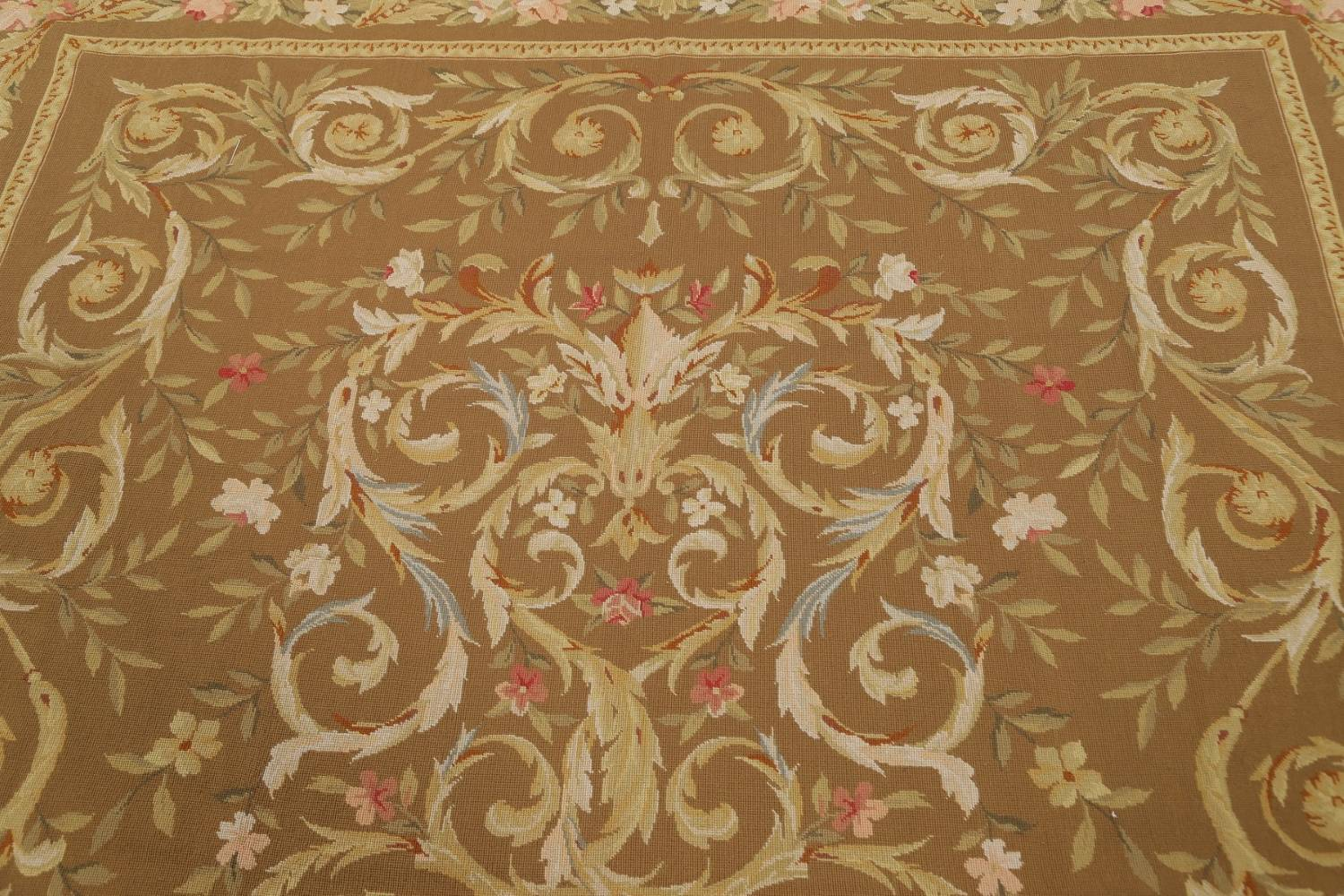 Floral Brown Aubusson Chinese Oriental Hand-Woven Area Rug Wool 8x10 image 10
