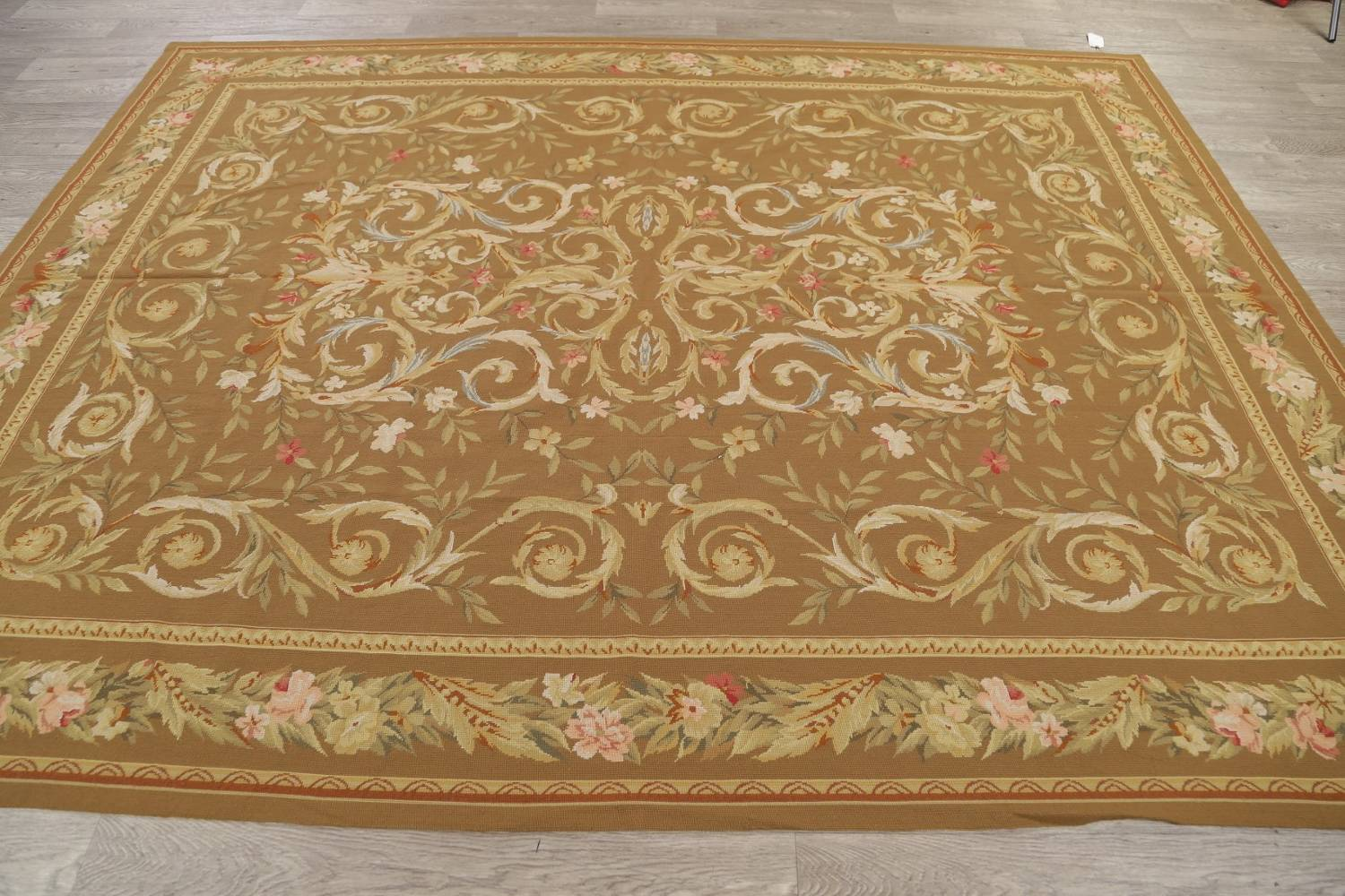 Floral Brown Aubusson Chinese Oriental Hand-Woven Area Rug Wool 8x10 image 12