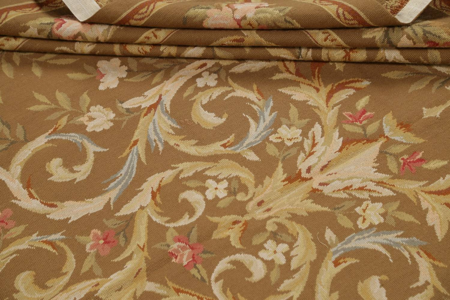 Floral Brown Aubusson Chinese Oriental Hand-Woven Area Rug Wool 8x10 image 14