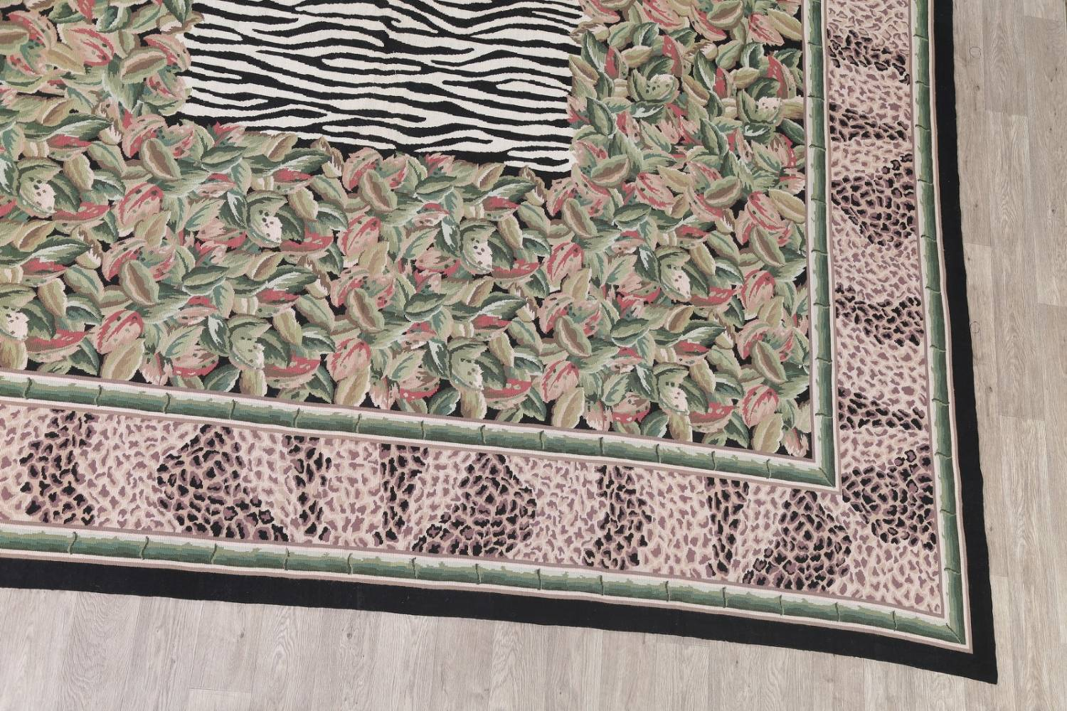 Transitional Animal Print Aubusson Oriental Hand-Woven Area Rug 12x15 image 6