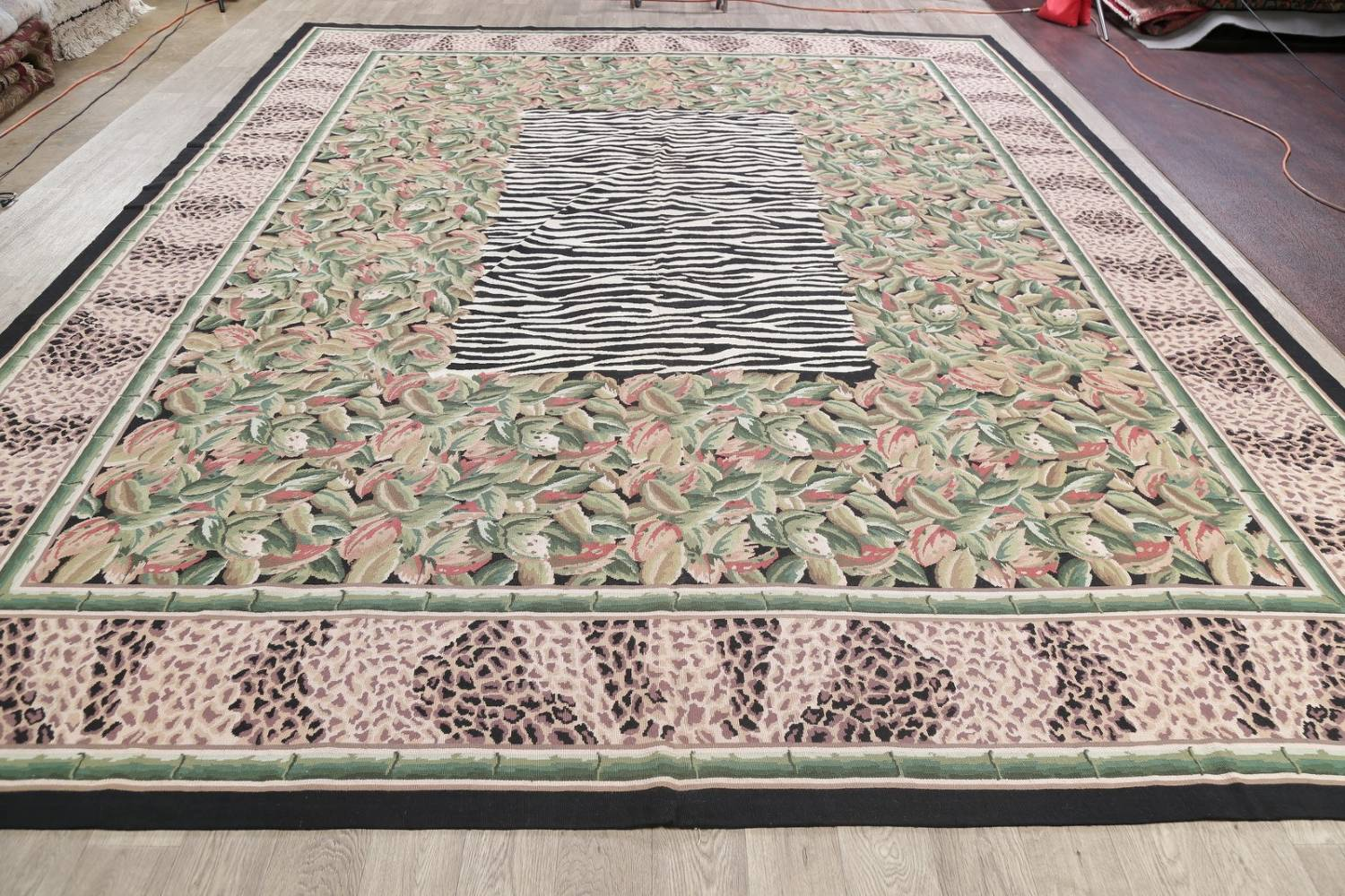 Transitional Animal Print Aubusson Oriental Hand-Woven Area Rug 12x15 image 14