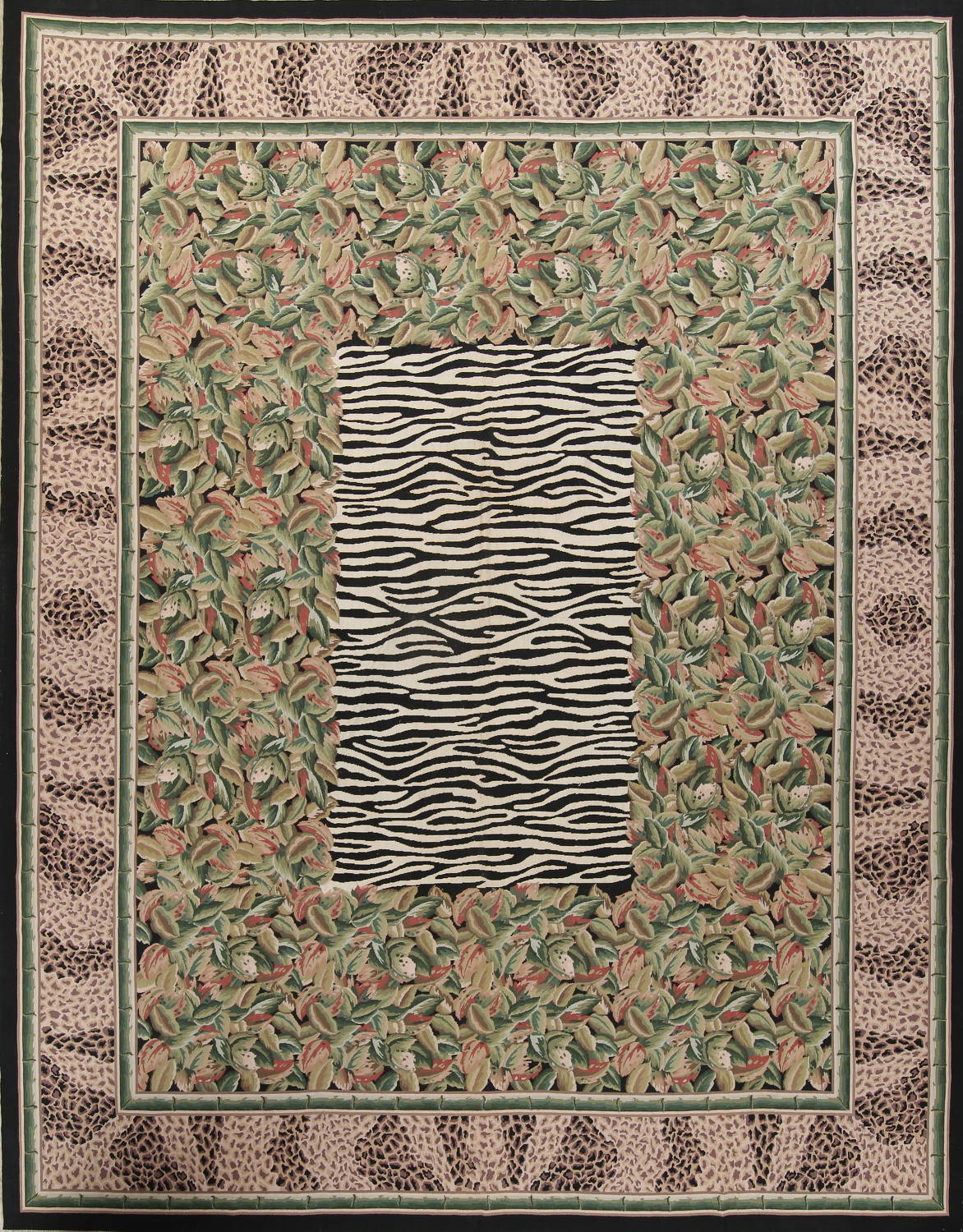 Transitional Animal Print Aubusson Oriental Hand-Woven Area Rug 12x15 image 1