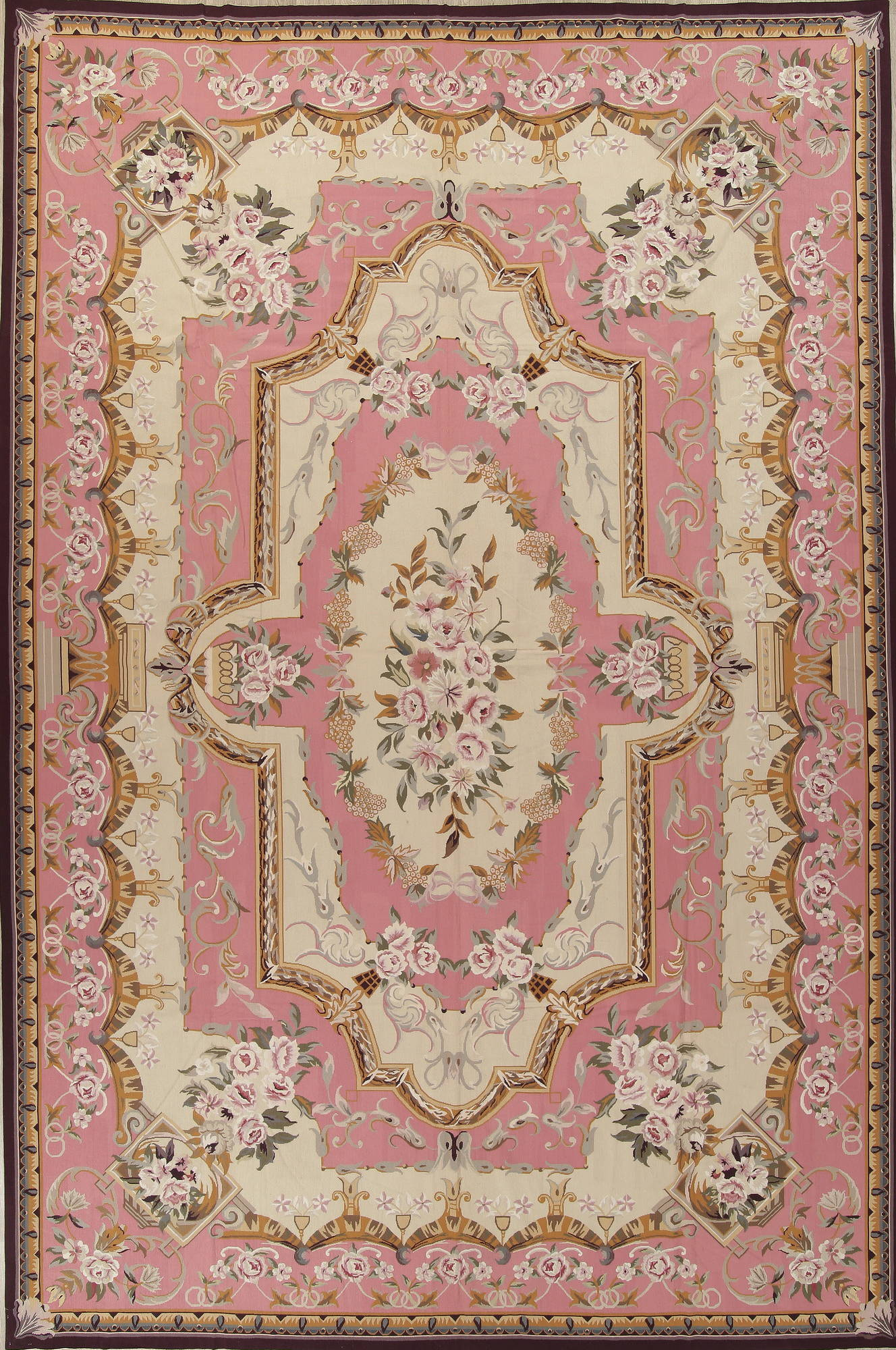 Transitional Pink Aubusson Chinese Oriental Hand Woven Area Rug 11x17