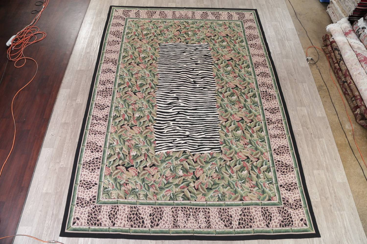 Transitional Animal PrintAubusson Chinese Hand-Woven Area Rug 10X14 image 2