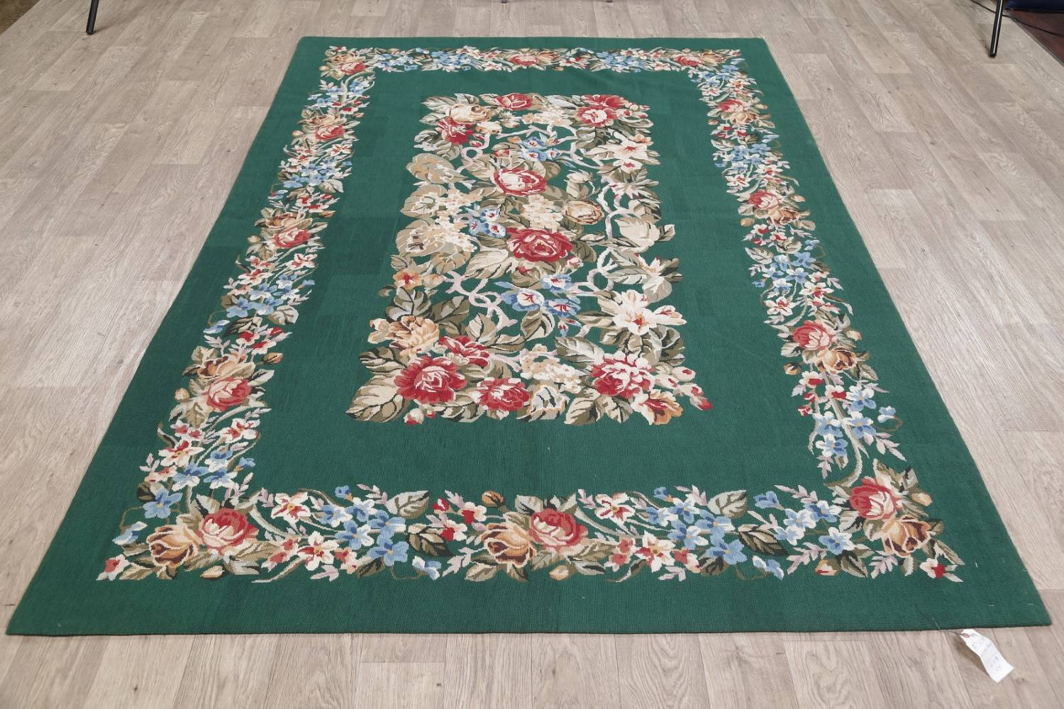 Floral Green Aubusson Chinese Oriental Hand-Woven Area Rug Wool 6x9 image 14