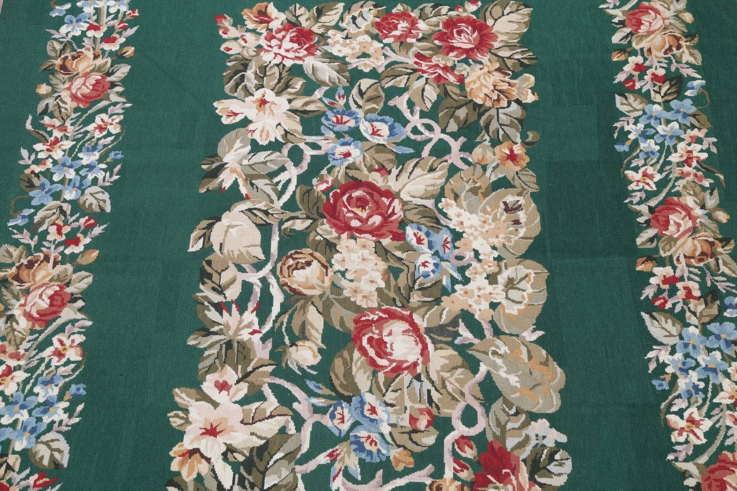 Floral Green Aubusson Chinese Oriental Hand-Woven Area Rug Wool 6x9 image 4