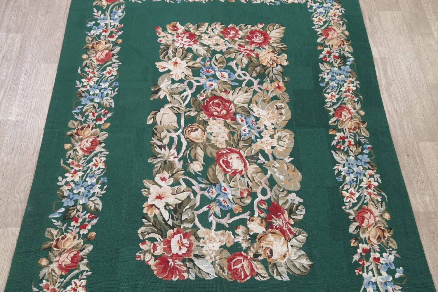 Floral Green Aubusson Chinese Oriental Hand-Woven Area Rug Wool 6x9 image 3